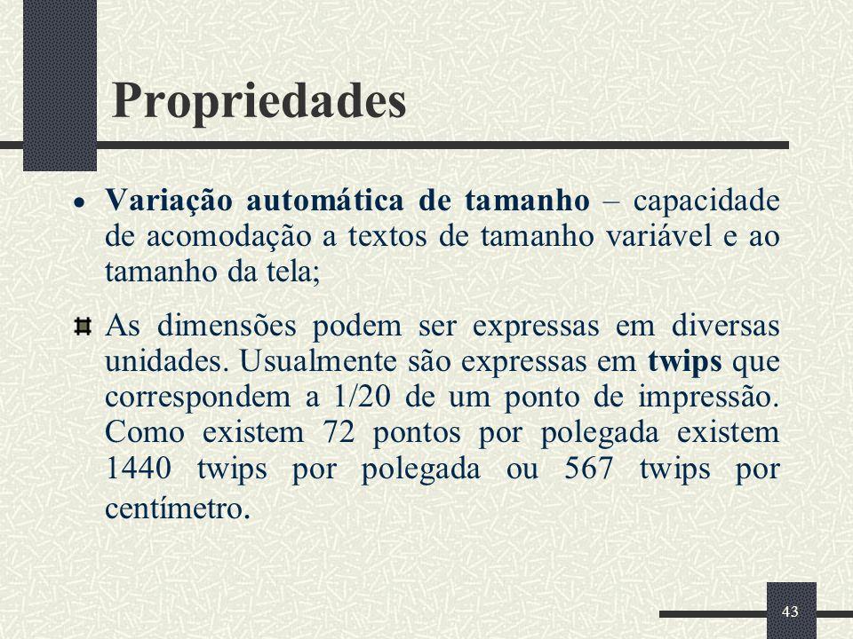 Propriedades Variação automática de tamanho – capacidade de acomodação a textos de tamanho variável e ao tamanho da tela;