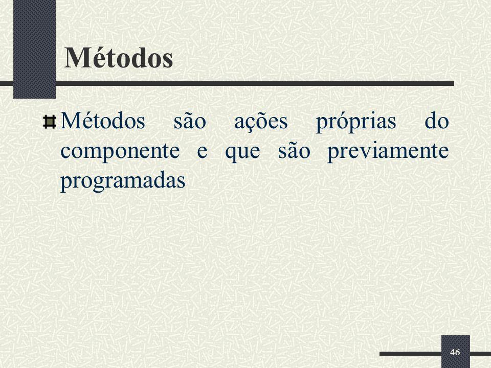 Métodos Métodos são ações próprias do componente e que são previamente programadas