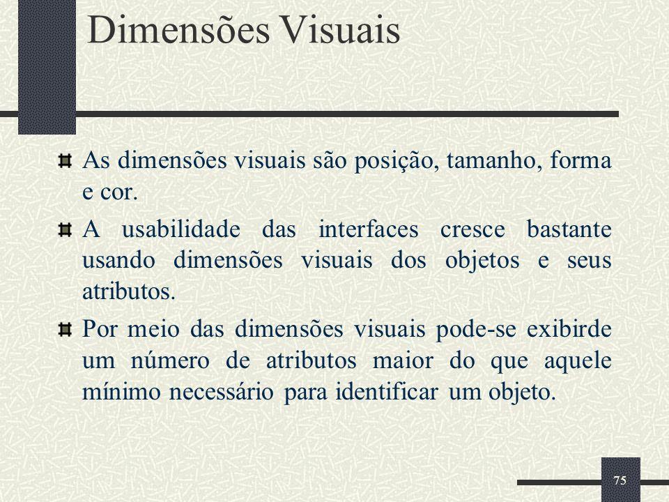 Dimensões Visuais As dimensões visuais são posição, tamanho, forma e cor.