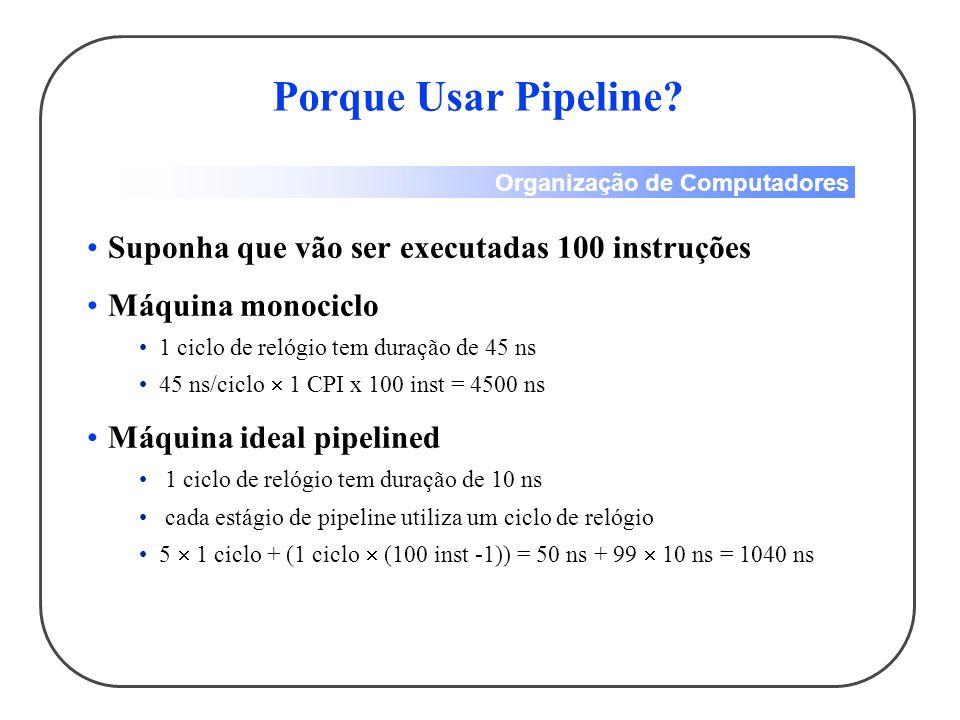 Porque Usar Pipeline Suponha que vão ser executadas 100 instruções