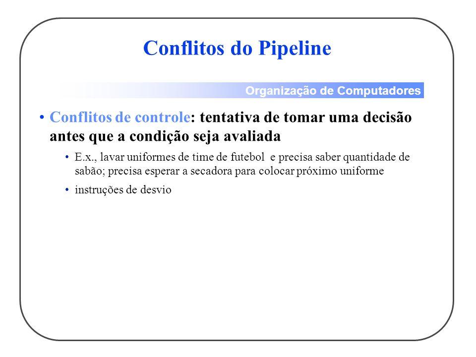 Conflitos do Pipeline Conflitos de controle: tentativa de tomar uma decisão antes que a condição seja avaliada.