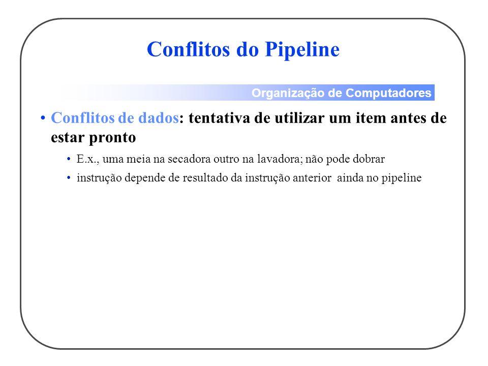 Conflitos do Pipeline Conflitos de dados: tentativa de utilizar um item antes de estar pronto.