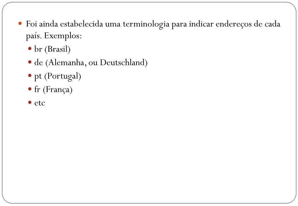 Foi ainda estabelecida uma terminologia para indicar endereços de cada país. Exemplos: