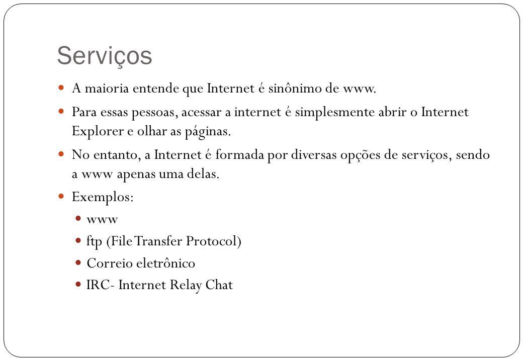 Serviços A maioria entende que Internet é sinônimo de www.