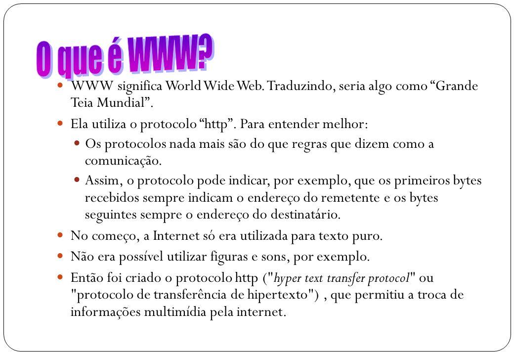 O que é WWW WWW significa World Wide Web. Traduzindo, seria algo como Grande Teia Mundial . Ela utiliza o protocolo http . Para entender melhor: