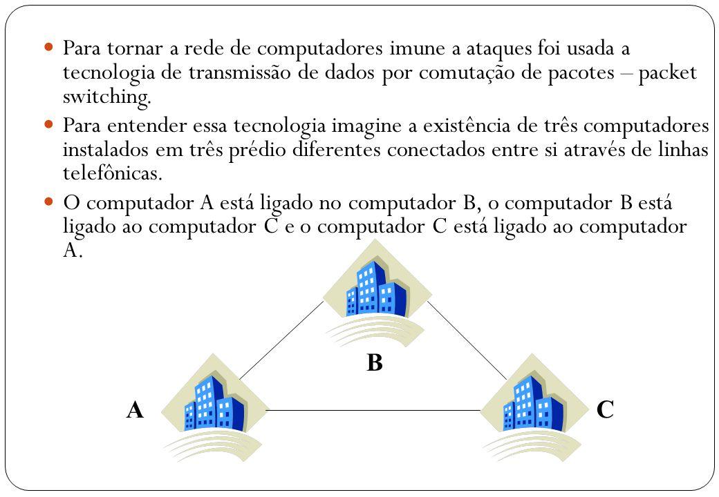 Para tornar a rede de computadores imune a ataques foi usada a tecnologia de transmissão de dados por comutação de pacotes – packet switching.
