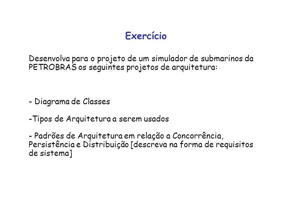 Exercício Desenvolva para o projeto de um simulador de submarinos da PETROBRAS os seguintes projetos de arquitetura: