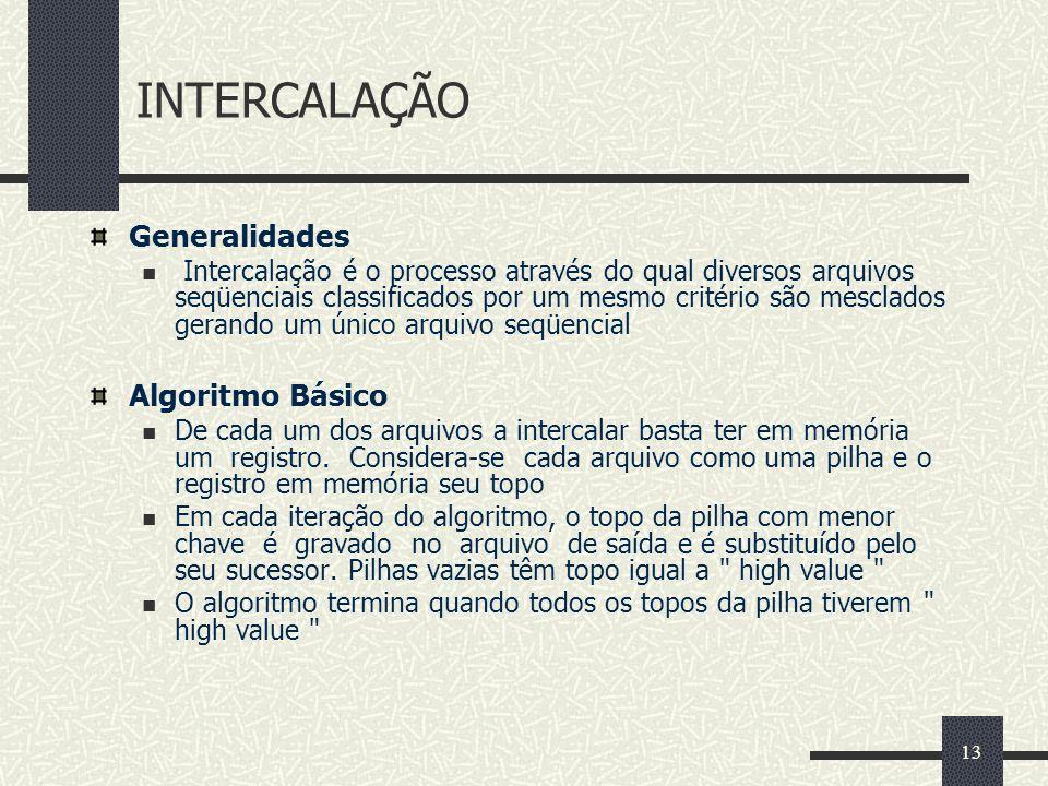 INTERCALAÇÃO Generalidades Algoritmo Básico