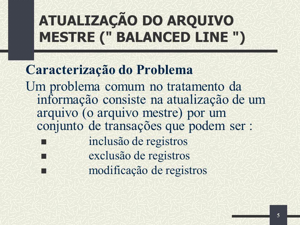 ATUALIZAÇÃO DO ARQUIVO MESTRE ( BALANCED LINE )