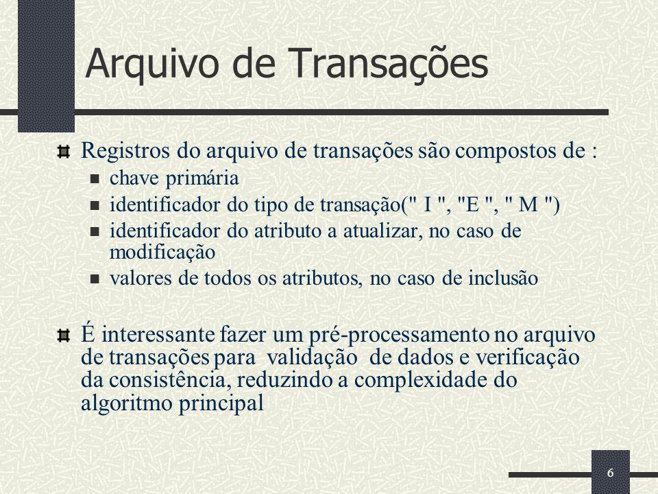 Arquivo de Transações Registros do arquivo de transações são compostos de : chave primária. identificador do tipo de transação( I , E , M )