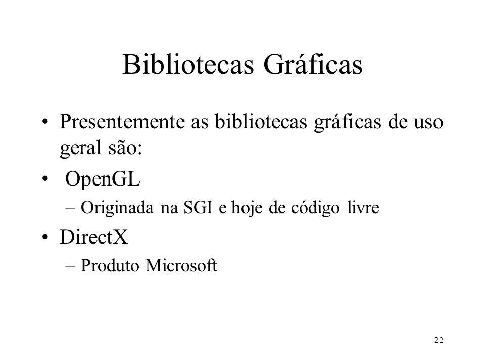 Bibliotecas Gráficas Presentemente as bibliotecas gráficas de uso geral são: OpenGL. Originada na SGI e hoje de código livre.
