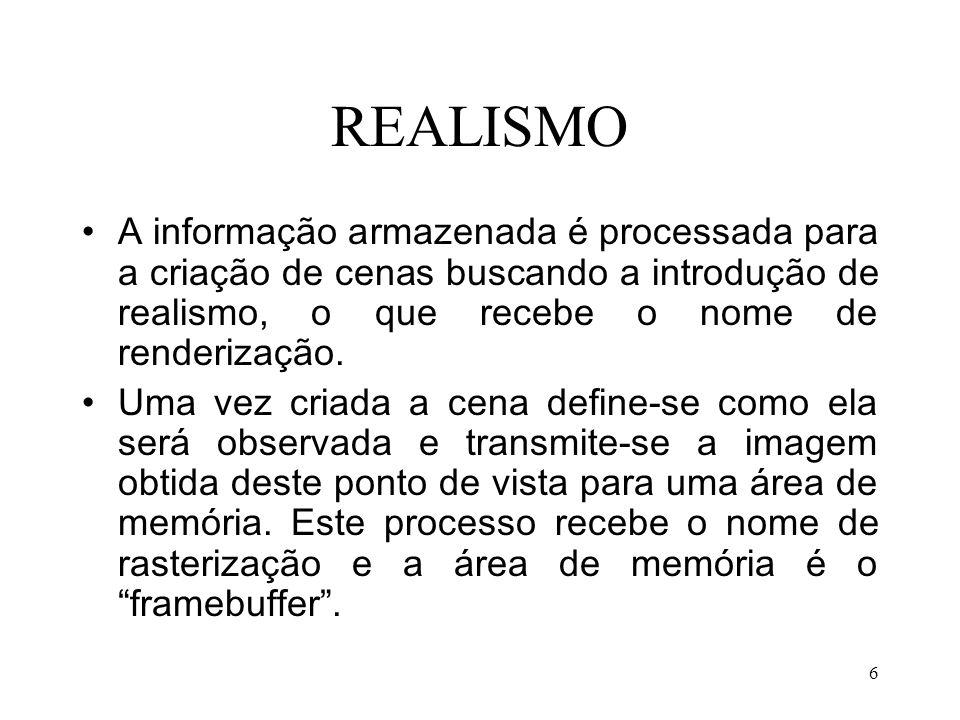 REALISMO A informação armazenada é processada para a criação de cenas buscando a introdução de realismo, o que recebe o nome de renderização.
