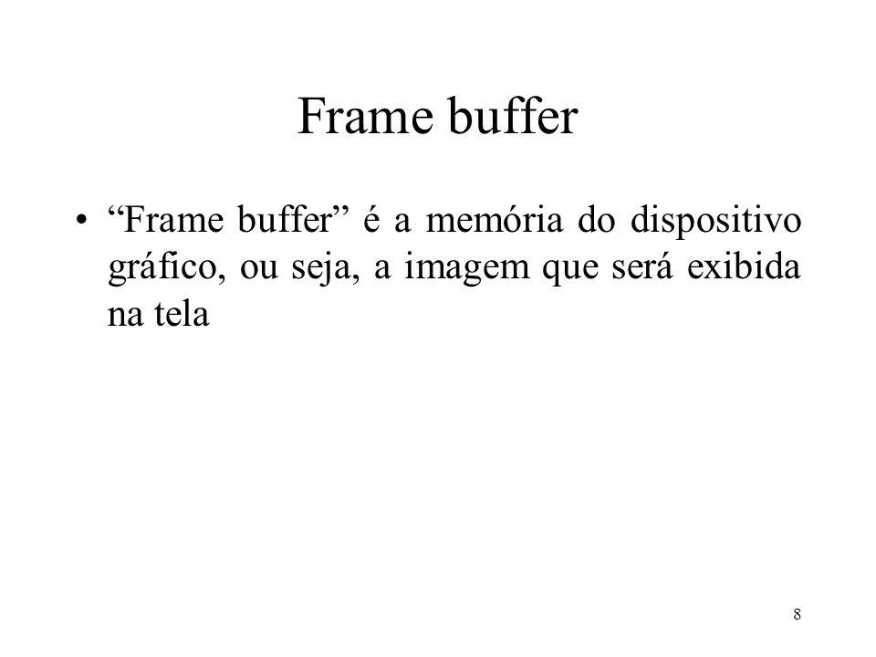 Frame buffer Frame buffer é a memória do dispositivo gráfico, ou seja, a imagem que será exibida na tela.