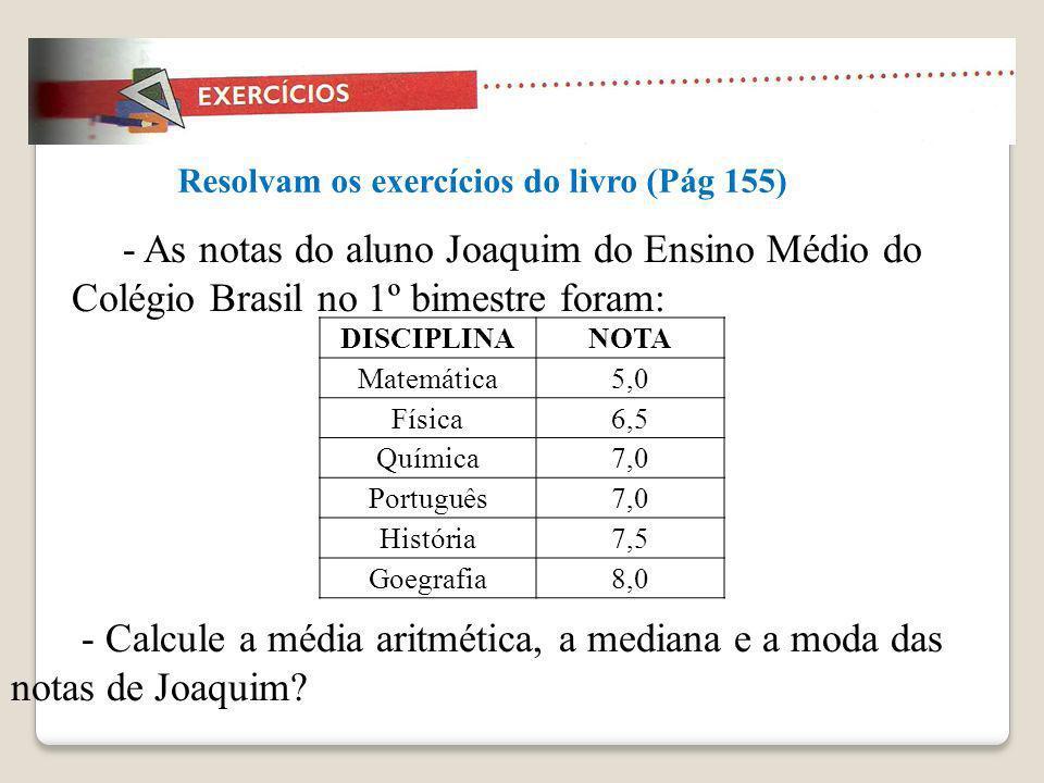 - As notas do aluno Joaquim do Ensino Médio do