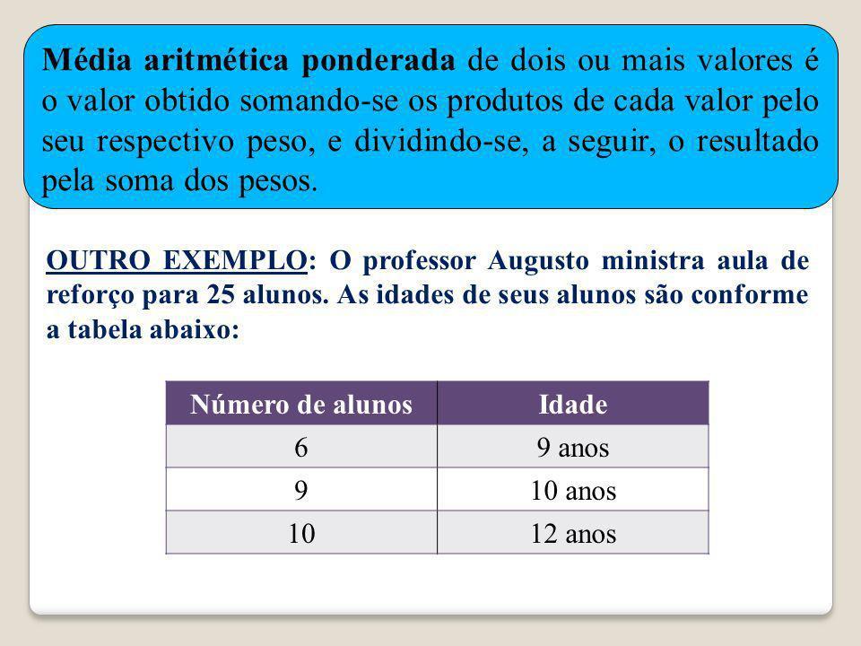 Média aritmética ponderada de dois ou mais valores é o valor obtido somando-se os produtos de cada valor pelo seu respectivo peso, e dividindo-se, a seguir, o resultado pela soma dos pesos.