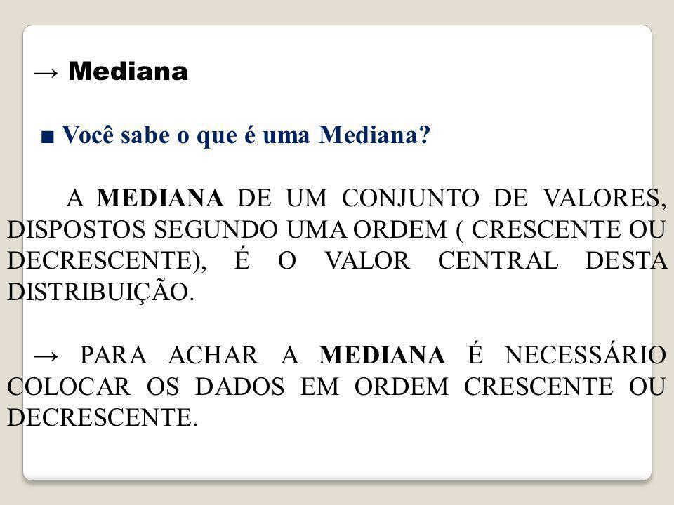→ Mediana ■ Você sabe o que é uma Mediana