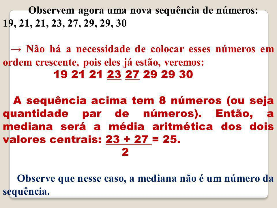 Observem agora uma nova sequência de números: 19, 21, 21, 23, 27, 29, 29, 30