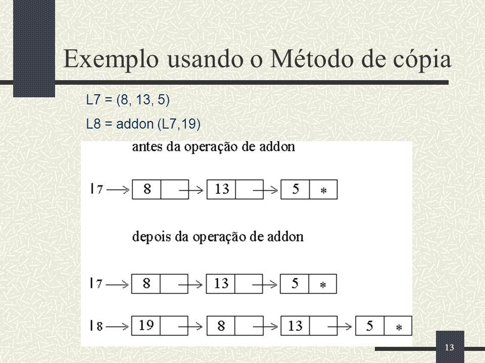 Exemplo usando o Método de cópia