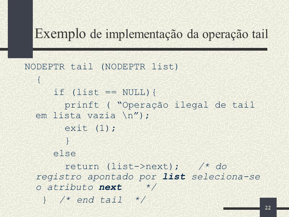 Exemplo de implementação da operação tail