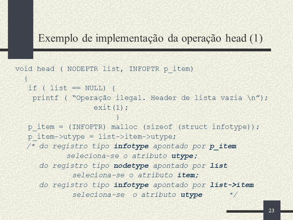 Exemplo de implementação da operação head (1)