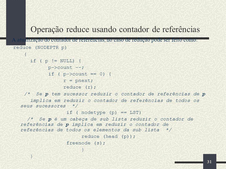 Operação reduce usando contador de referências