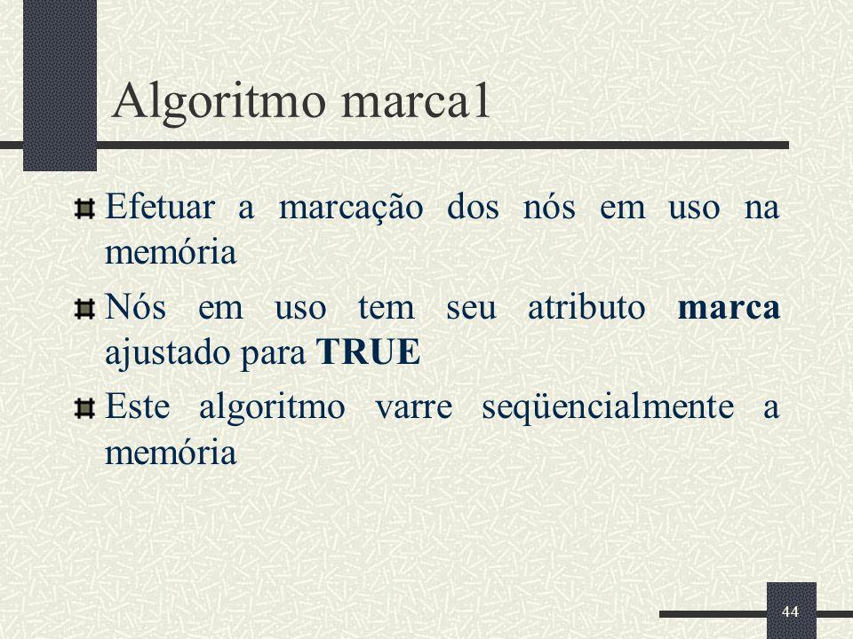 Algoritmo marca1 Efetuar a marcação dos nós em uso na memória