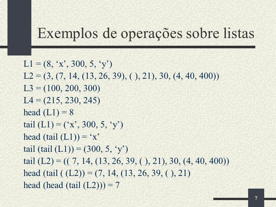 Exemplos de operações sobre listas