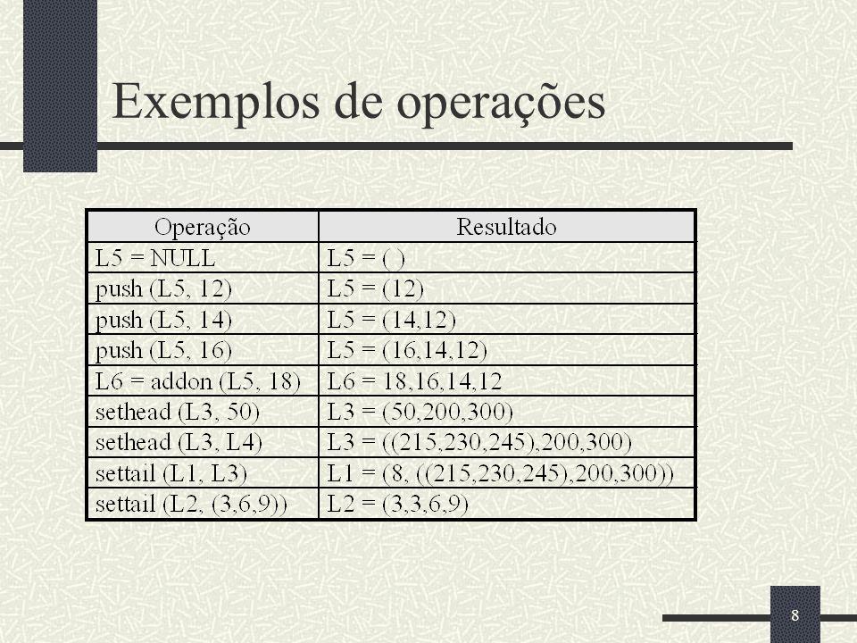 Exemplos de operações