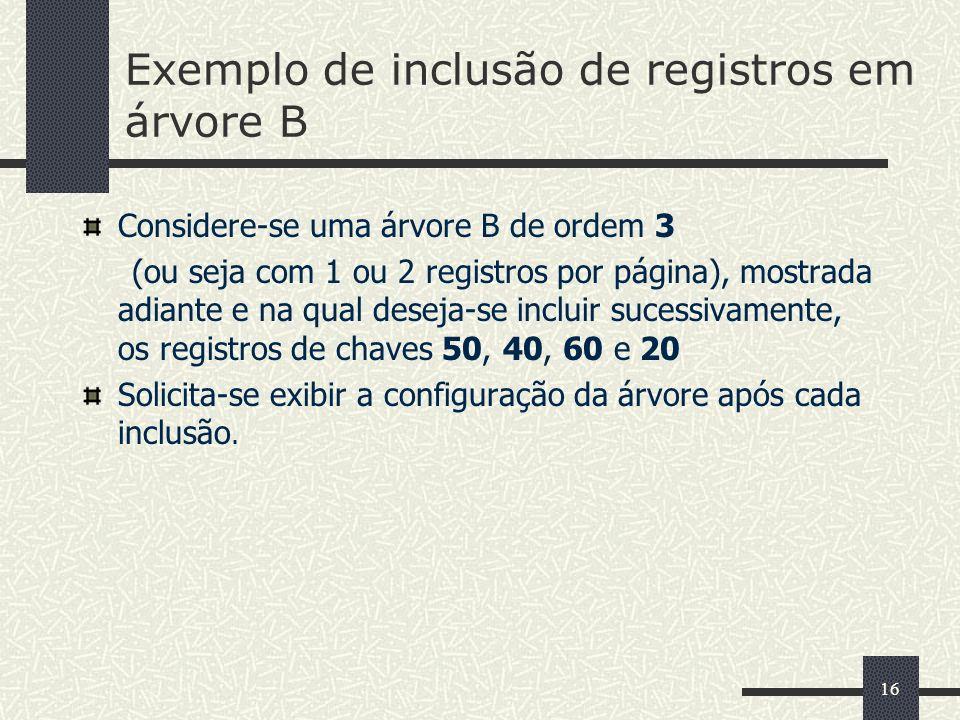 Exemplo de inclusão de registros em árvore B