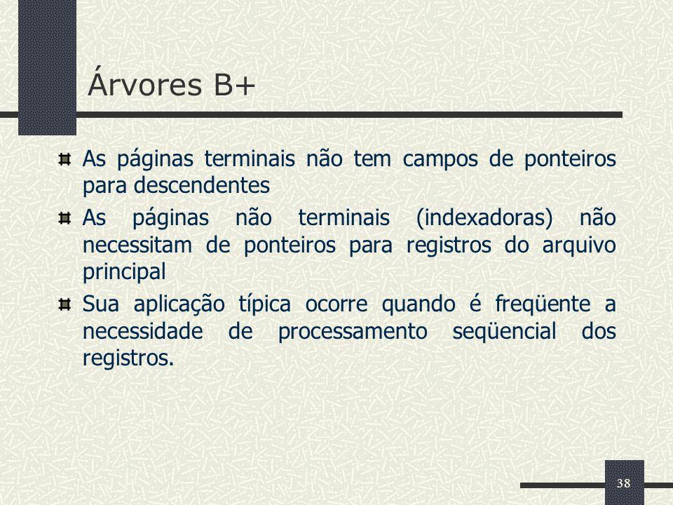Árvores B+ As páginas terminais não tem campos de ponteiros para descendentes.