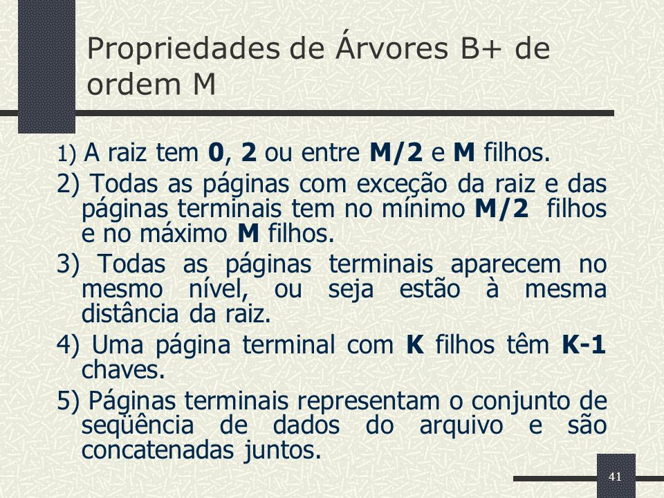 Propriedades de Árvores B+ de ordem M