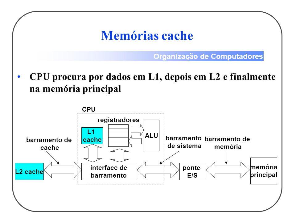 Memórias cache CPU procura por dados em L1, depois em L2 e finalmente na memória principal. CPU. registradores.
