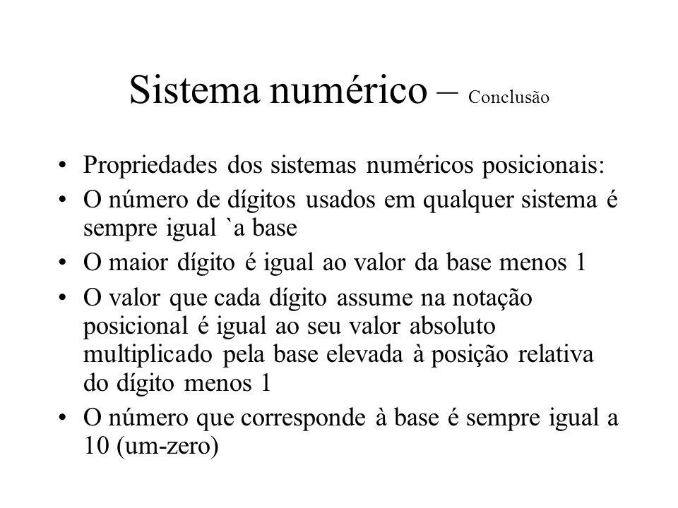 Sistema numérico – Conclusão
