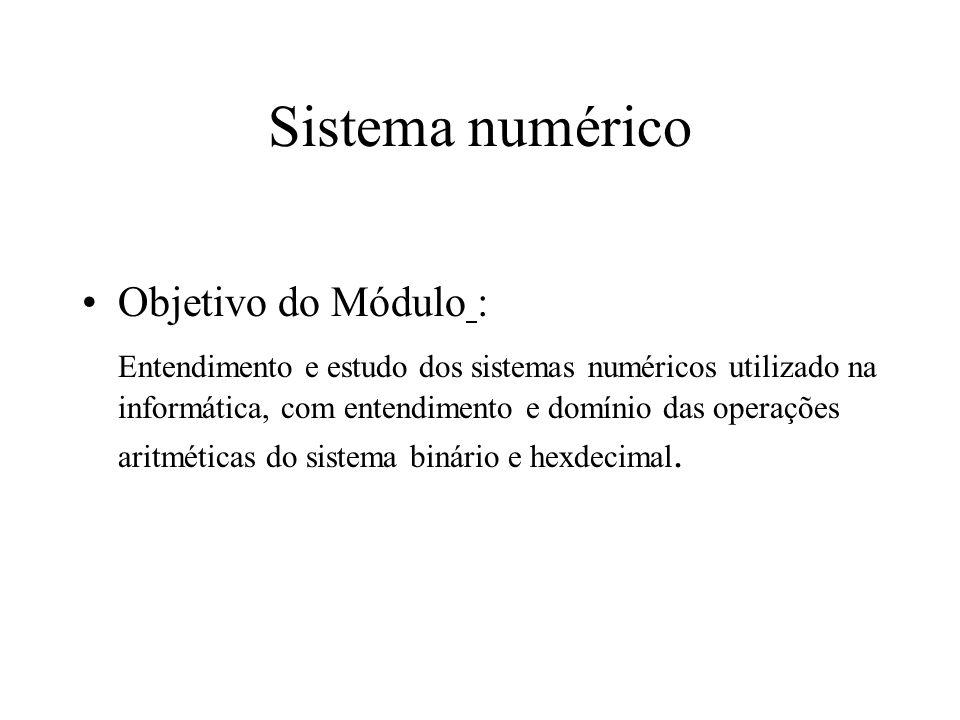 Sistema numérico Objetivo do Módulo :