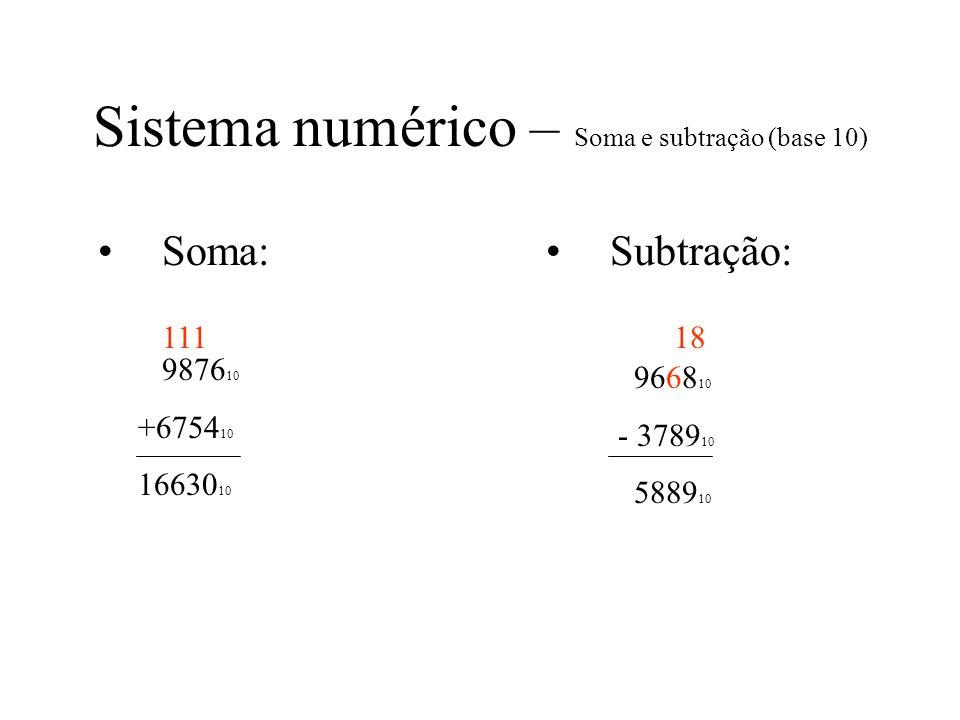 Sistema numérico – Soma e subtração (base 10)