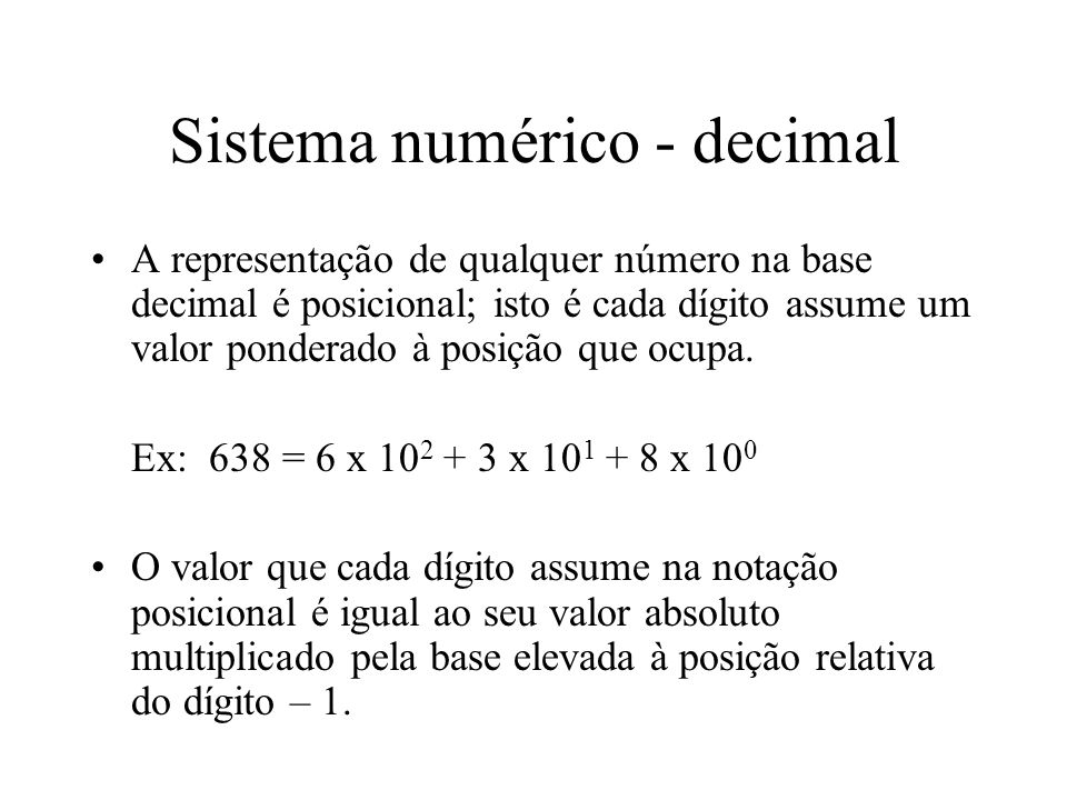 Sistema numérico - decimal