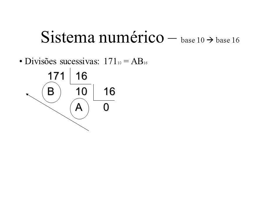 Sistema numérico – base 10  base 16