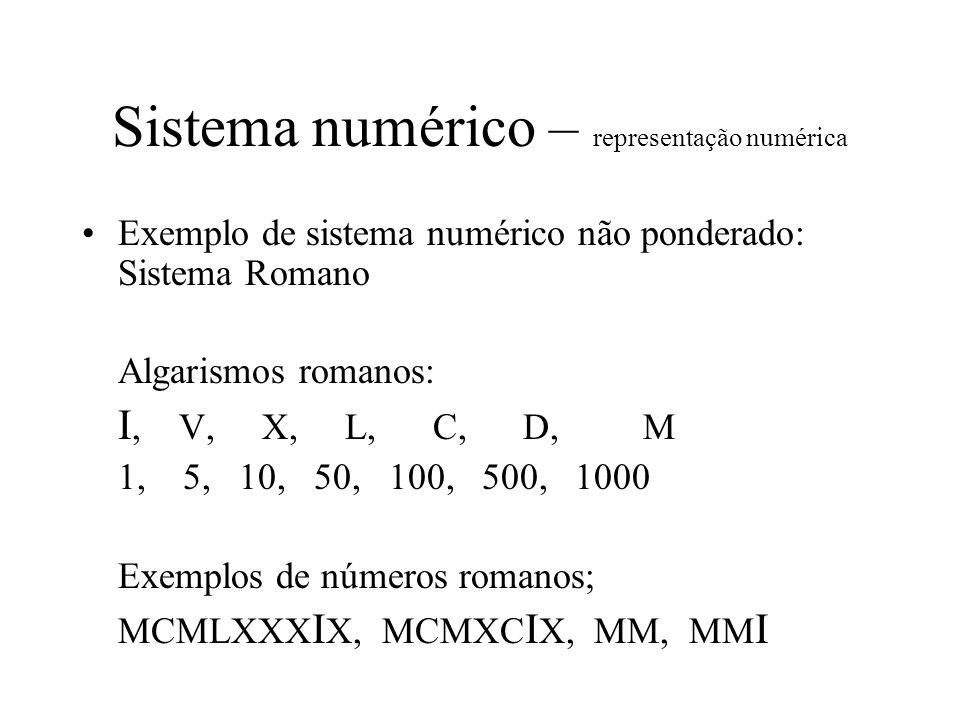 Sistema numérico – representação numérica