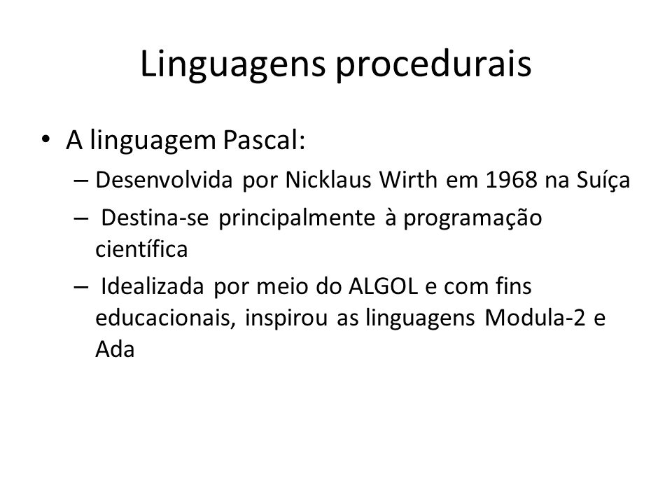 Linguagens procedurais
