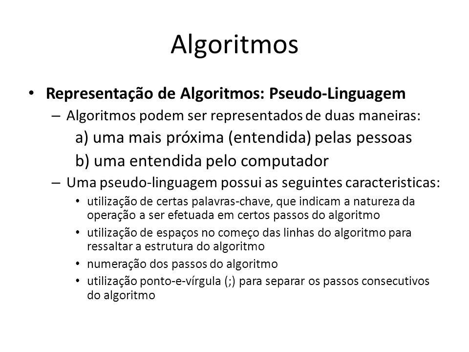 Algoritmos Representação de Algoritmos: Pseudo-Linguagem