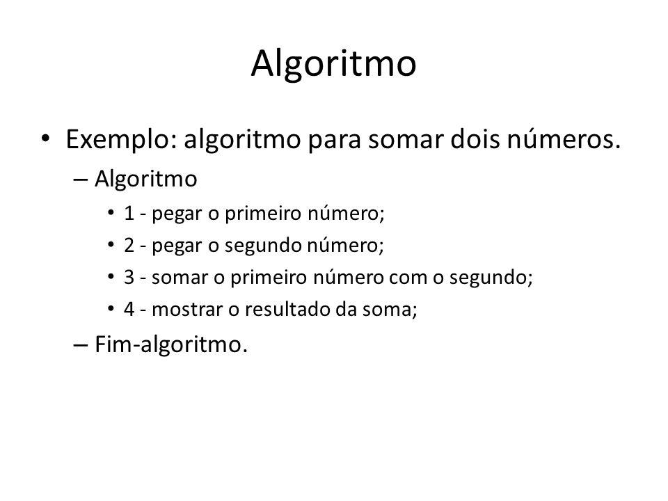 Algoritmo Exemplo: algoritmo para somar dois números. Algoritmo