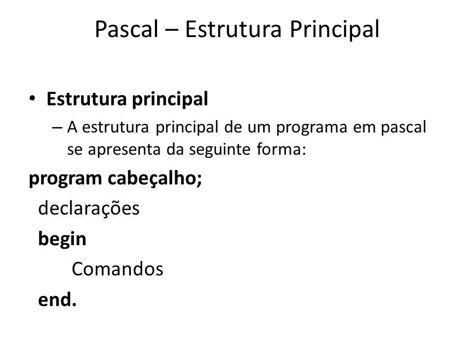 Pascal – Estrutura Principal