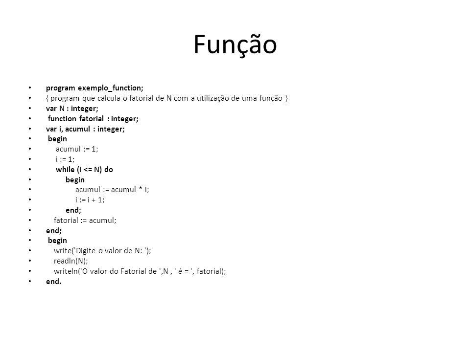 Função program exemplo_function;