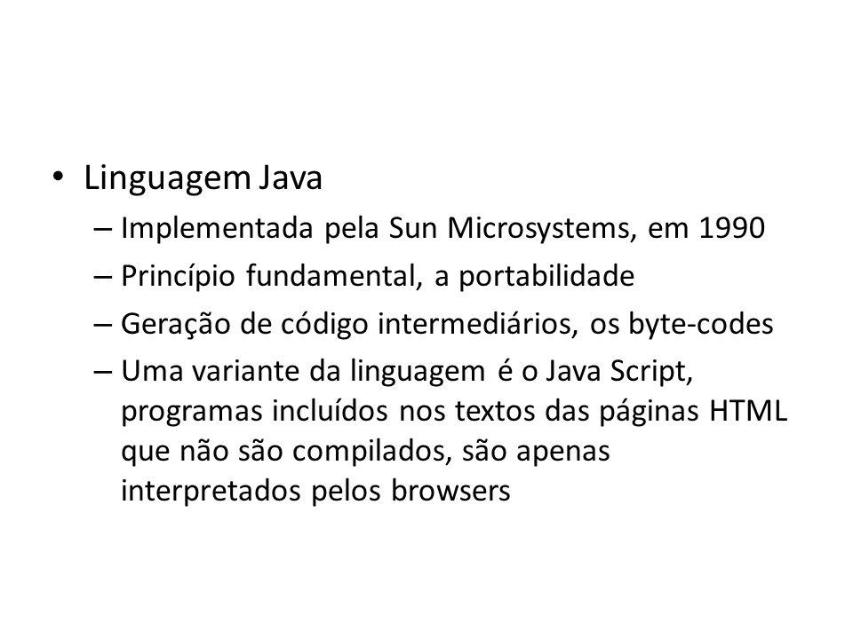 Linguagem Java Implementada pela Sun Microsystems, em 1990