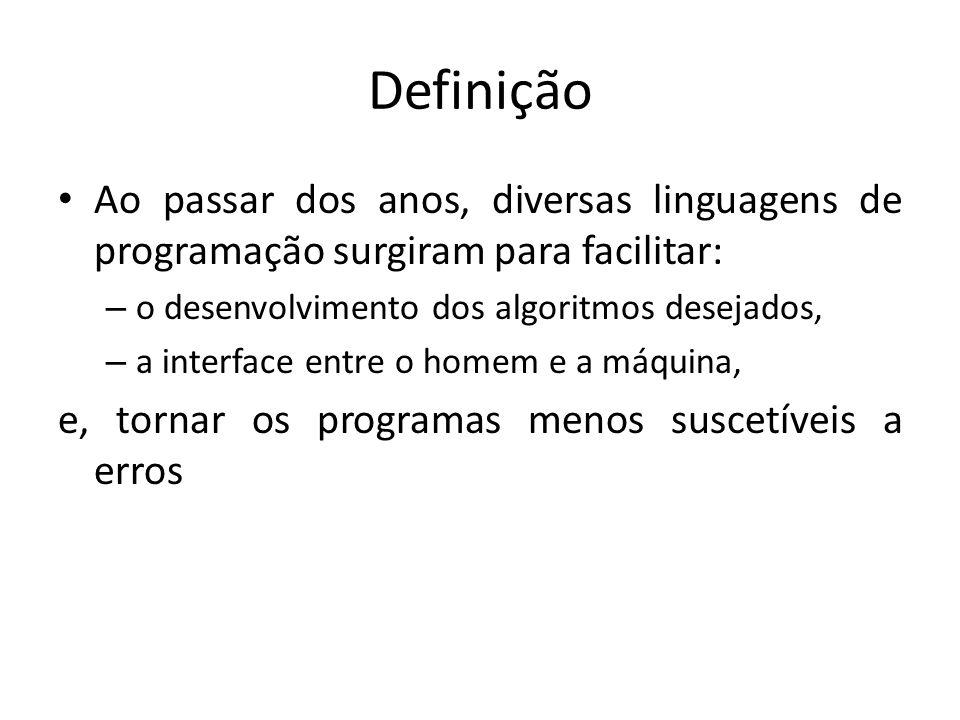 Definição Ao passar dos anos, diversas linguagens de programação surgiram para facilitar: o desenvolvimento dos algoritmos desejados,