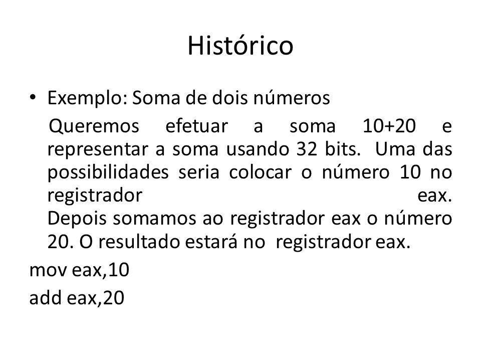 Histórico Exemplo: Soma de dois números