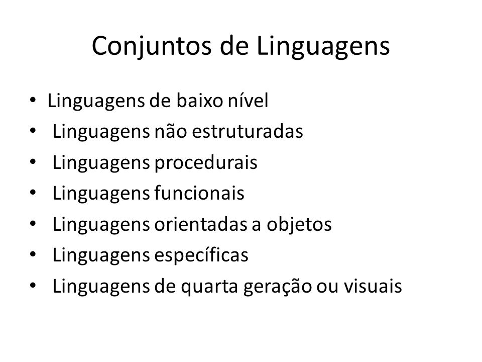 Conjuntos de Linguagens