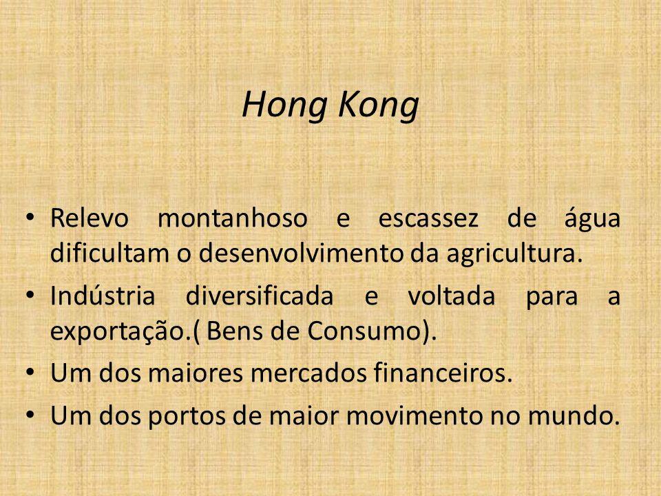 Hong KongRelevo montanhoso e escassez de água dificultam o desenvolvimento da agricultura.