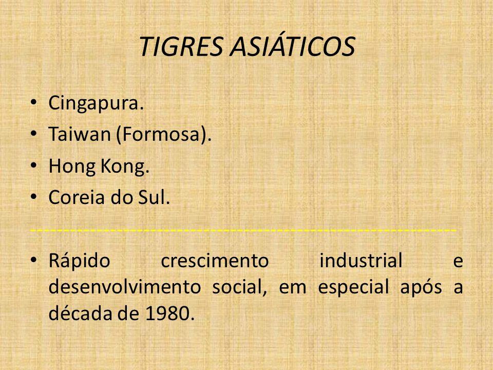 TIGRES ASIÁTICOS Cingapura. Taiwan (Formosa). Hong Kong.