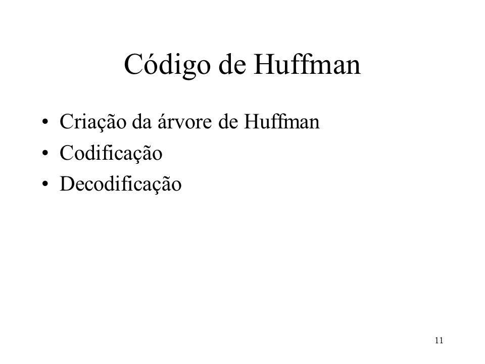 Código de Huffman Criação da árvore de Huffman Codificação